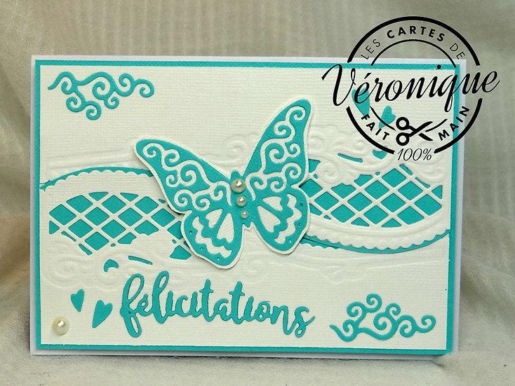 """Carte félicitations """" Papillon bleu"""" / """"Blue bitterfly felicitations card"""