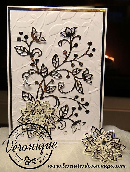 """Carte 3D  """"Fleur de Noël"""" / """"Christmas flower"""" 3D card"""