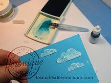 Exemple d'utilisation de la pâte à embosser Stampin'Up® teintée avec de l'encre déposée au pinceau à réservoir d'eau / example of using Stampin'Up® Embossing paste tinted with Aqua paint