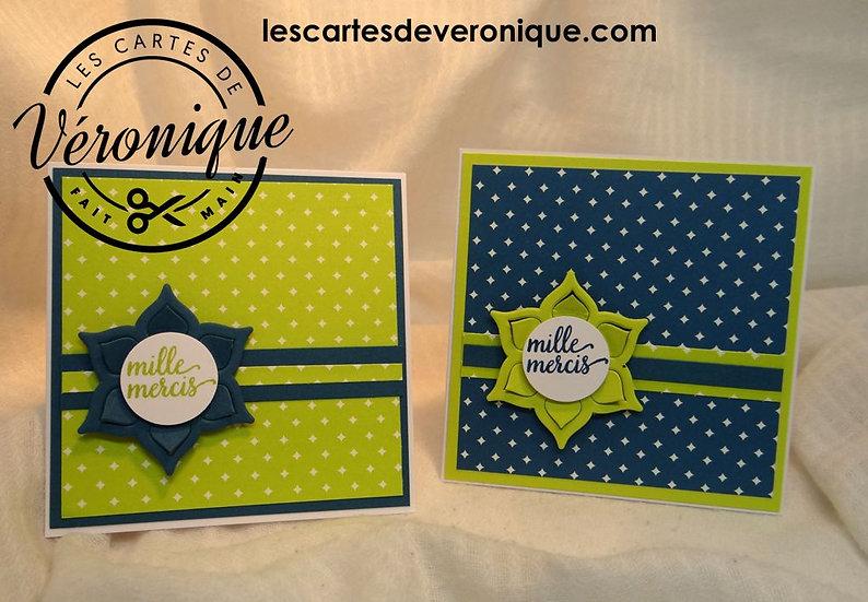 "Lot 2 minis cartes ""Mille Mercis"" / 2 mini cards ""A thousand thanks"" set"