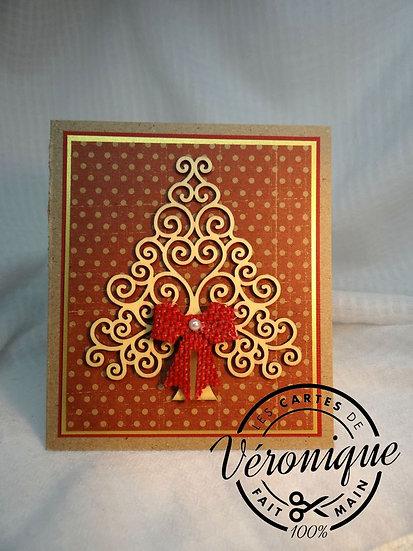 Carte 3D sapin et volutes de bois/ 3D fir wood scroll card