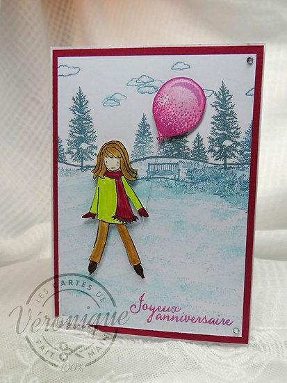 "Carte anniversaire ""Petite patineuse"" / ""Little skater"" birthday card"