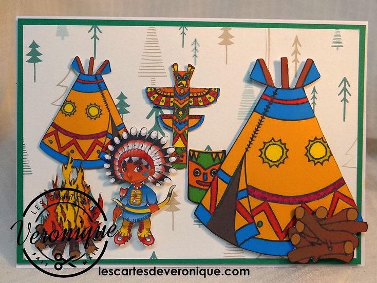 """Carte 3D """"Les indiens"""" / """"Indians"""" 3D card"""