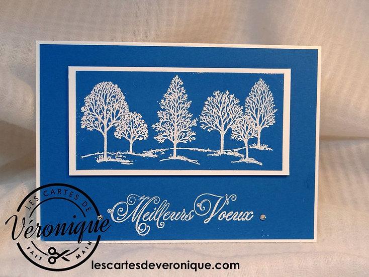 """Carte chevalet 3D """"Paysage d'hiver""""/ 3D """"Winter landscape"""" easel card"""