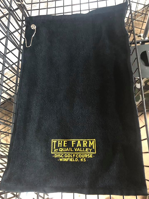 Golf towels black with gold lettering