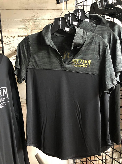 Ladies Polo black and heather gray