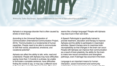 """PUBLISHED ARTICLE IN """"ALLIED MAGAZINE"""" Aphasia – An INVISIBLE disability that affects communication."""