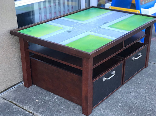 Pottery Barn table with storage