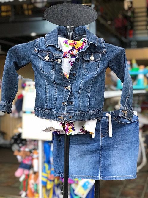 Size 5 Gap denim jacket, skirt and floral shirt