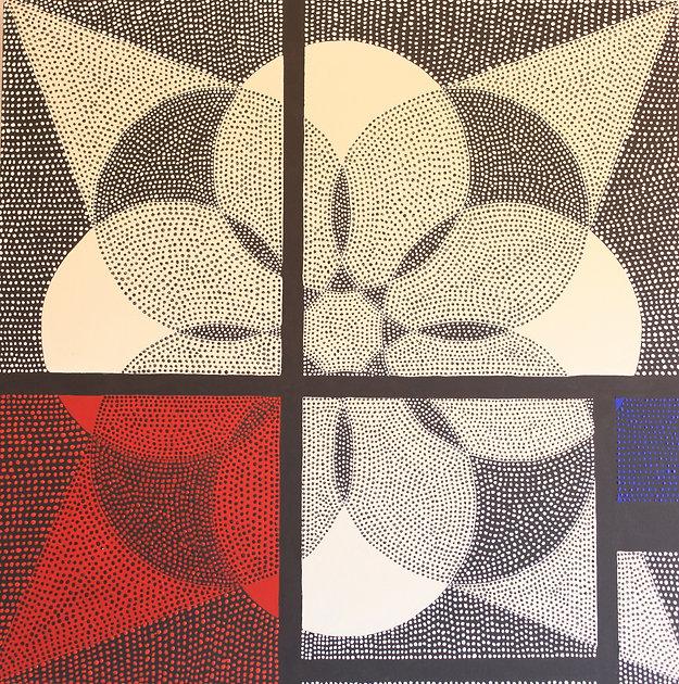 Paint|Exhibition|An organized Chaos Mondrian and the Flower of life|La Mansarde Gallery 2012|Veyrier Switzerland|Isabelle Derigo|contemporary performance artist
