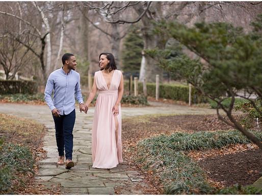Nina and Brandon's Rockefeller Park Greenhouse Engagement Session