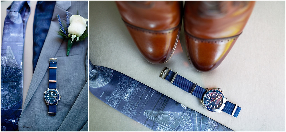 groom details, millenium falcon tie, cleveland wedding
