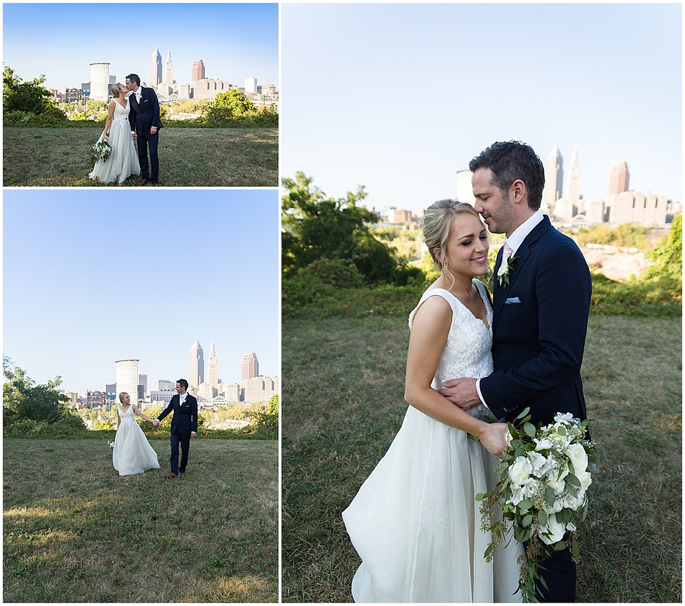 bride and groom cleveland skyline