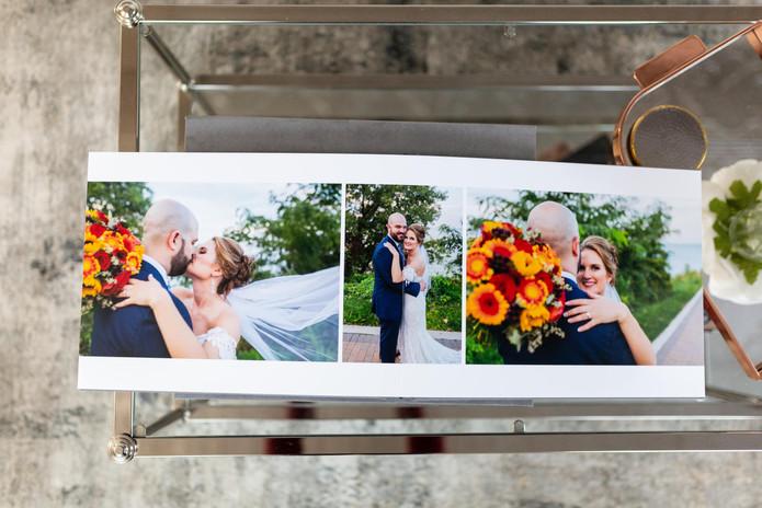 wedding album on coffee table