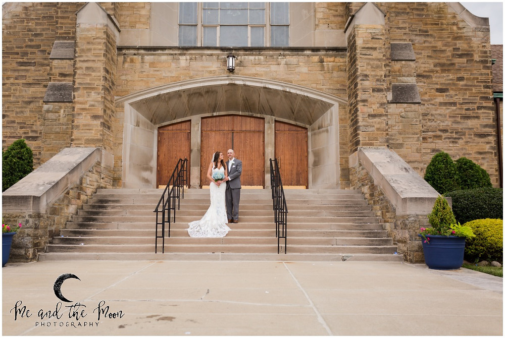 bride and groom in front of church cleveland