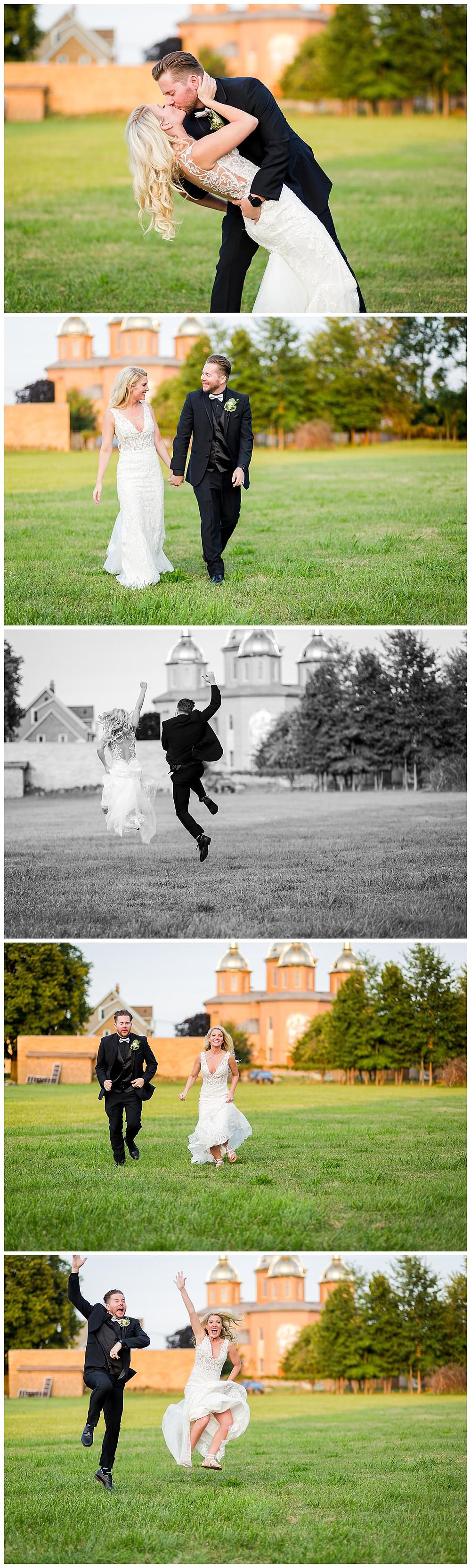 golden hour wedding photos bride and groom