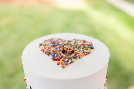 ring shot on top of sprinkle heart
