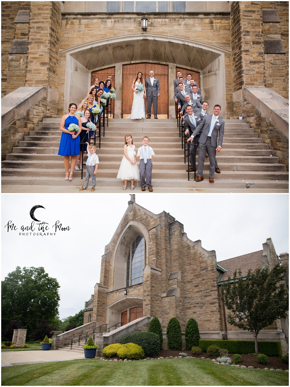 wedding party in front of church