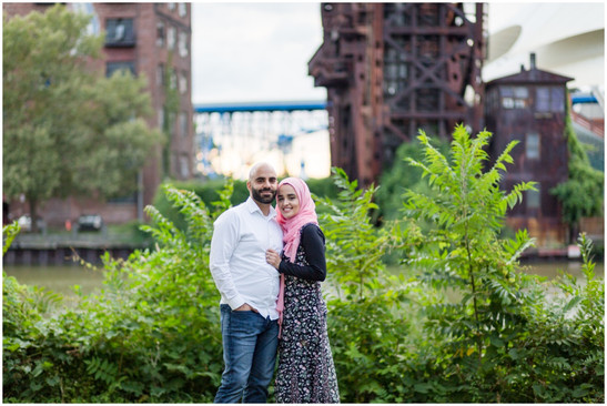 engagement session near the flats cleveland