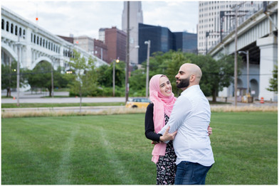 engagement session in downtown cleveland