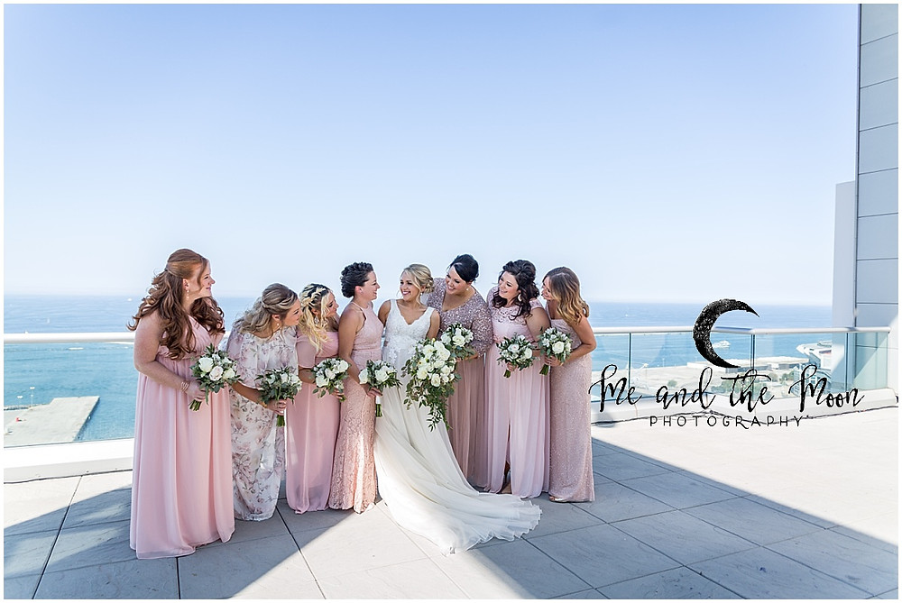 bridesmaids light pink gowns