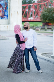 engagement session at the flats in cleveland