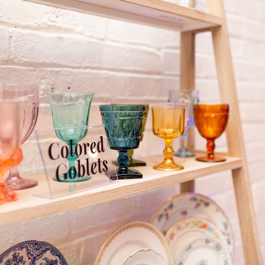 Colored Goblets from Staple and Layer Cleveland Ohio Wedding