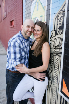 engagement session in front of cleveland mural