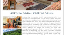 Quality of Life in Vail, Colorado Timber Falls #1004 reduced to $720,000.000
