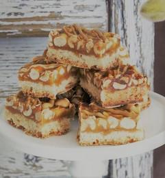 Roasted Hazelnut Caramel Slice