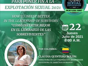 Claudia Quintero, intervendrá ante la Cumbre Mundial sobre Explotación Sexual