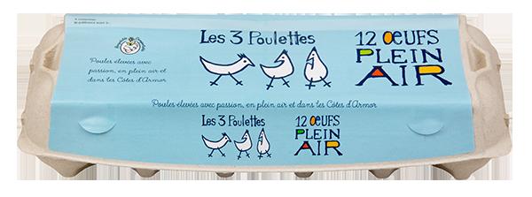 Les 3 poulettes Boite de 12 Oeufs plein air