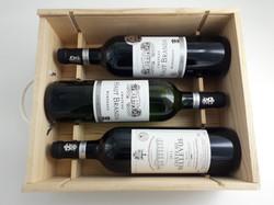 Coffret bois de 3 bouteilles Chateaux (1 blanc et 2 rouges)