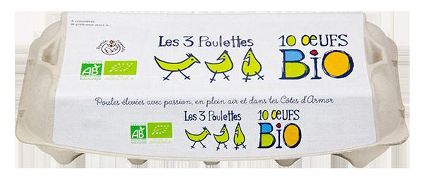 Les 3 poulettes Boite de 12 Oeufs Bio