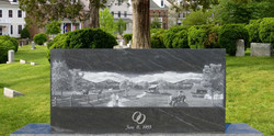 American Black with etched farm scene