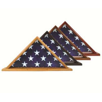 Flag Display Case - Red Oak or Walnut, for 5' X 9.5' Flag with Base
