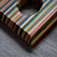 Detail shot of a recycled skateboards tapasboard