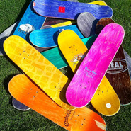 Broken and used skateboards