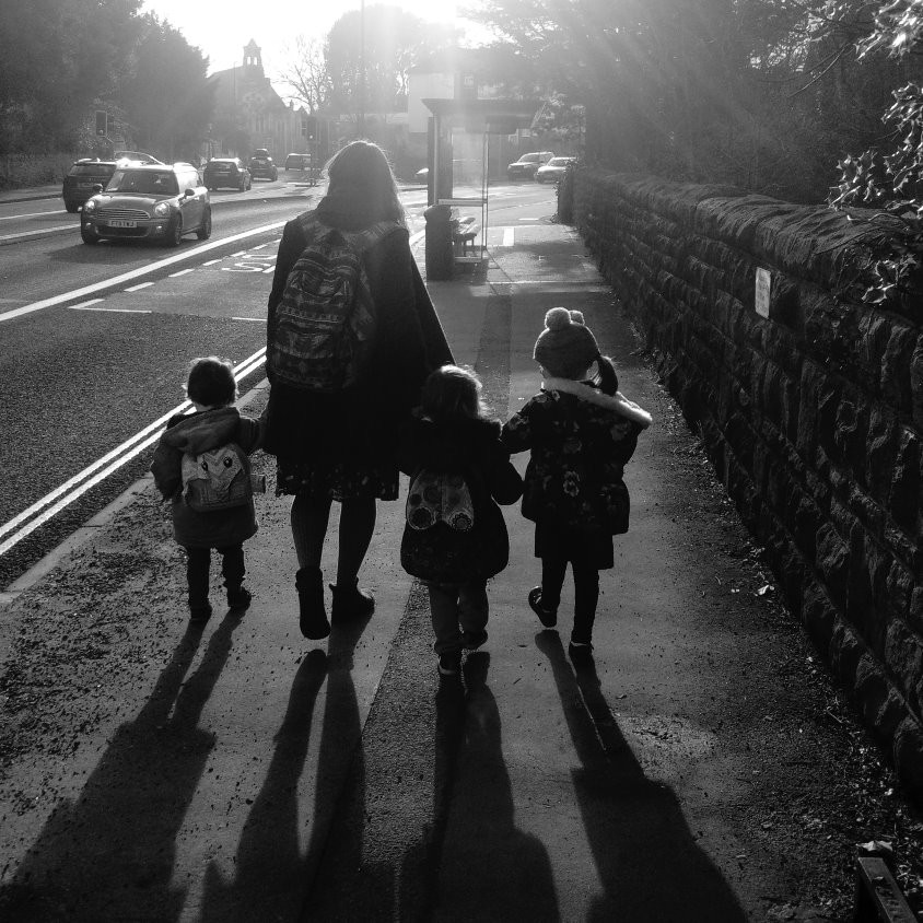 School run with three children