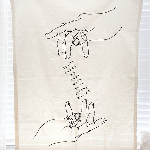 """""""Don't Touch My Soul"""" Embroidered Tapestry -- 35.5 x 47 inch"""