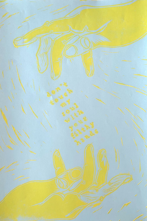 """Blue/Yellow """"Don't Touch My Soul"""" -- 9x12 inch"""