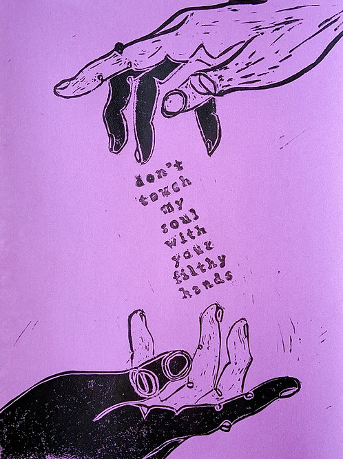 """Purple """"Don't Touch My Soul"""" -- 9x12 inch"""