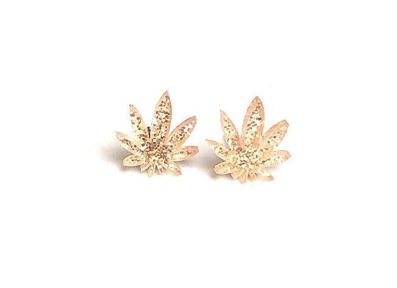 Champagne Glitter Cannabis Stud Earring