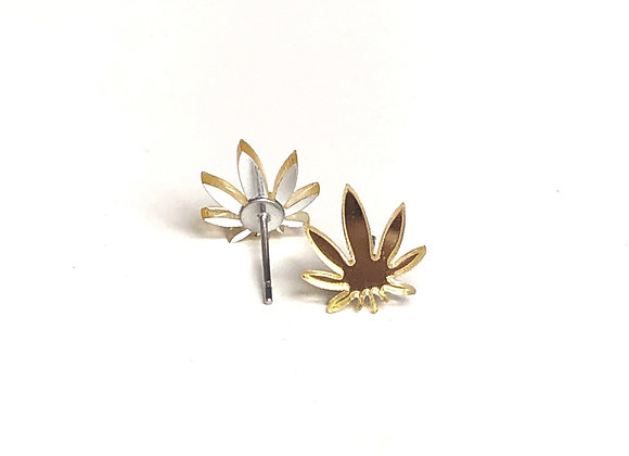 Gold Mirror Cannabis Stud Earring