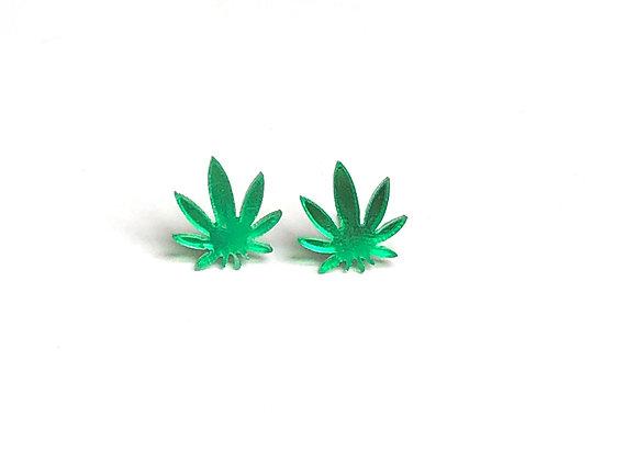 Green Mirror Cannabis Stud Earring
