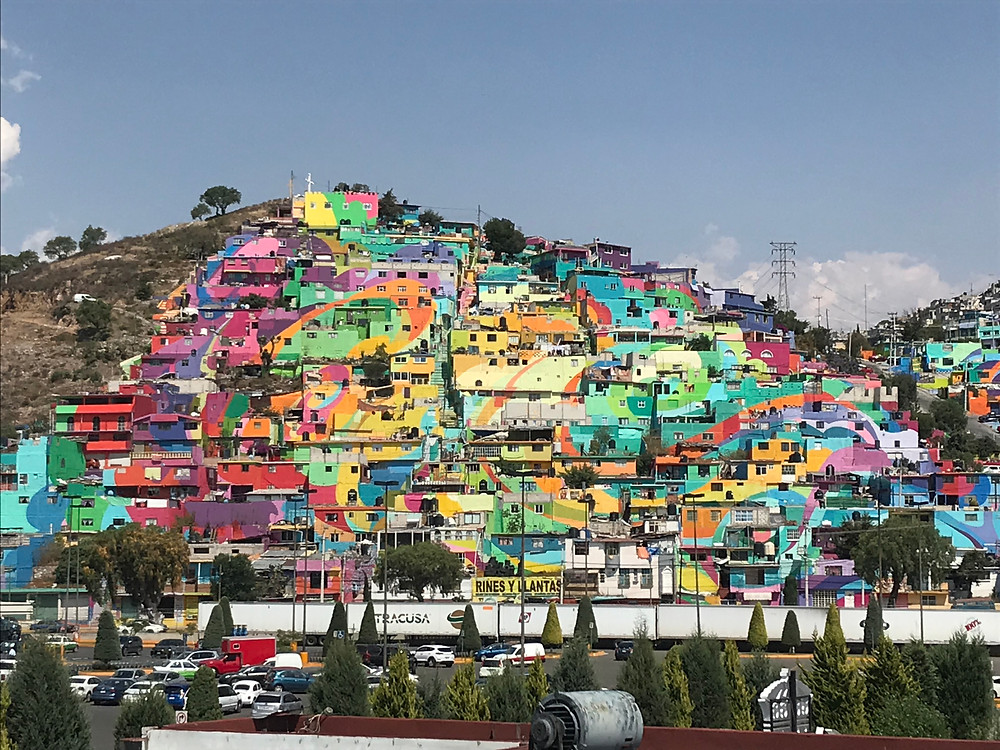 pachuca colored houses mural