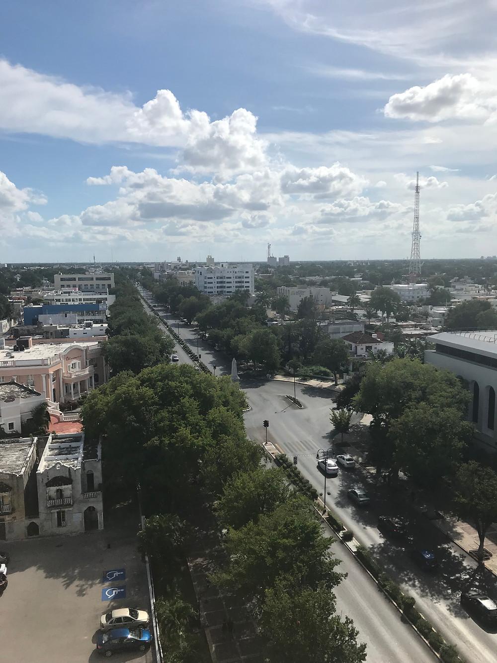 aerial view paseo montejo merida mexico