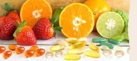 Fruits, légumes et compléments alimentaires présentés dans la formation