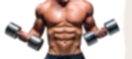 Athlète de fitness, musculation et body-building avec des haltères