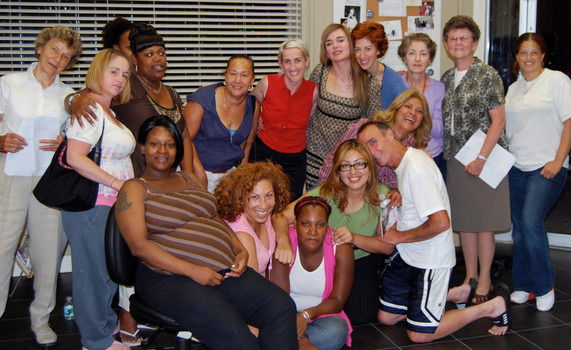 "Jane Stanicki top left & Sr. Theresa Fitzgerald (top row 2nd right) with the cast of Cell &The Ladies from ""Hour Children"""
